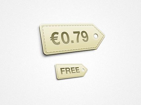 Plantilla de etiqueta de precios sepia para Photoshop
